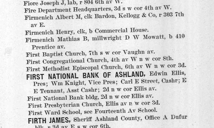 1897 Ashland City Directory