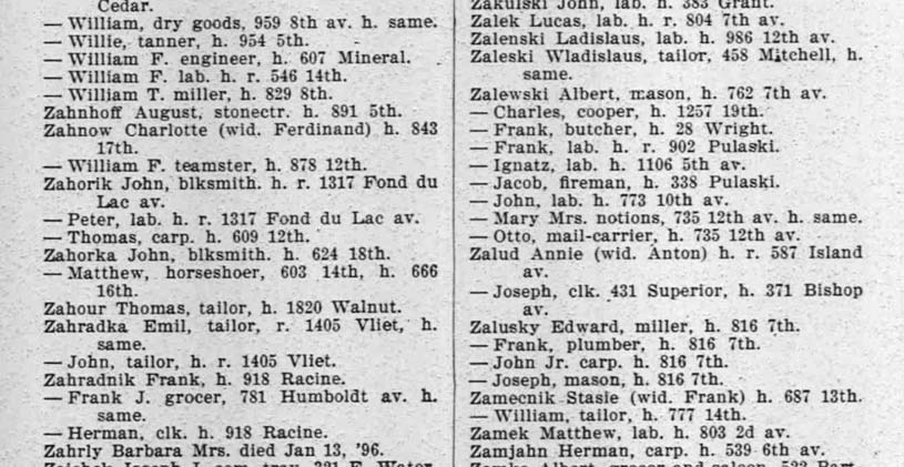 1896 Milwaukee City Directory