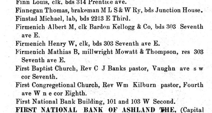1890 Ashland City Directory