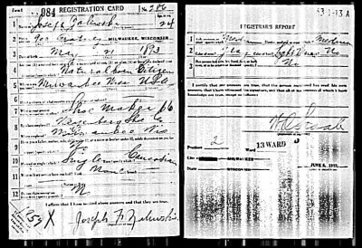 Joseph Zalewski WWI Registration