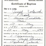 Joseph Zalewski Baptism