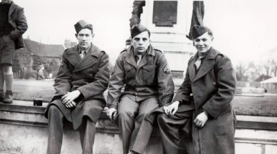 """Hank"", ""Cheety"", and LeRoy Thielke. Taken in Burton, England, our last Sunday in England. February 1945."