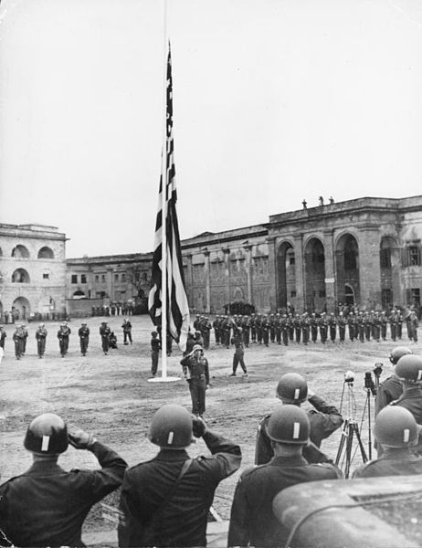 Third Army. American flag of last occupation reraised at Coblenz. 1945.